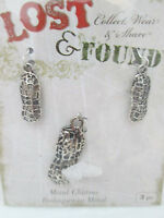 Blue Moon Lost & Found Metal - 3 Peanut Charms - Ant. Silver Toned