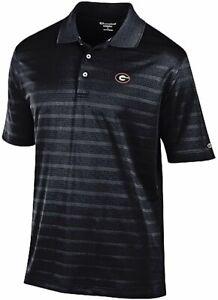 Georgia-Bulldogs-Mens-Black-Textured-Champion-Synthetic-Polo-Shirt
