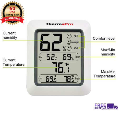 Thermopro Tp50 Temperature Humidity Meter Indoor Thermometer Digital Hygromete