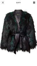 balmain x hm Ladies Faux Fur Emerald Green Coat