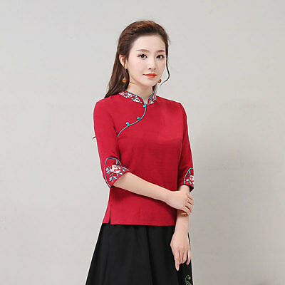 Womens Chinese Blouse Embroidery Folk Floral Cotton T-shirts Stretch Tops Gifts