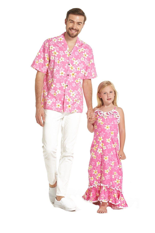 Made in Hawaii Father Daughter Matching Luau Dance Shirt Muumuu dress Pink Flora