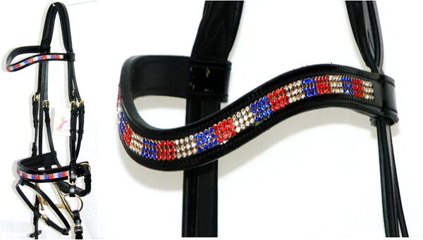 Fss Glisten curva U cristal Bling Rojo blancooo Azul Gb confort patente Brillo Bridle