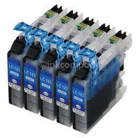 5 DRUCKER TINTE Patrone kompatibel zu LC121 LC123 LC125 Cyan Blau XL mit Chip