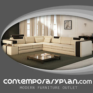 Image Is Loading Vista Modern Italian Design Leather Sectional Sofa With