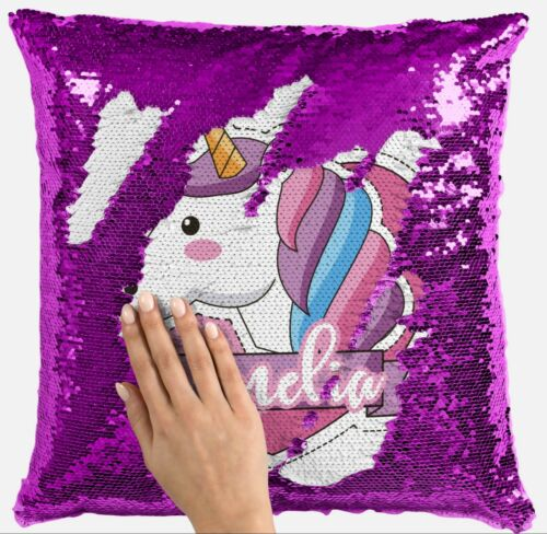Personalised Unicorn Any Name Magic Reveal Sequin Cushion Cover Gift Pink 16
