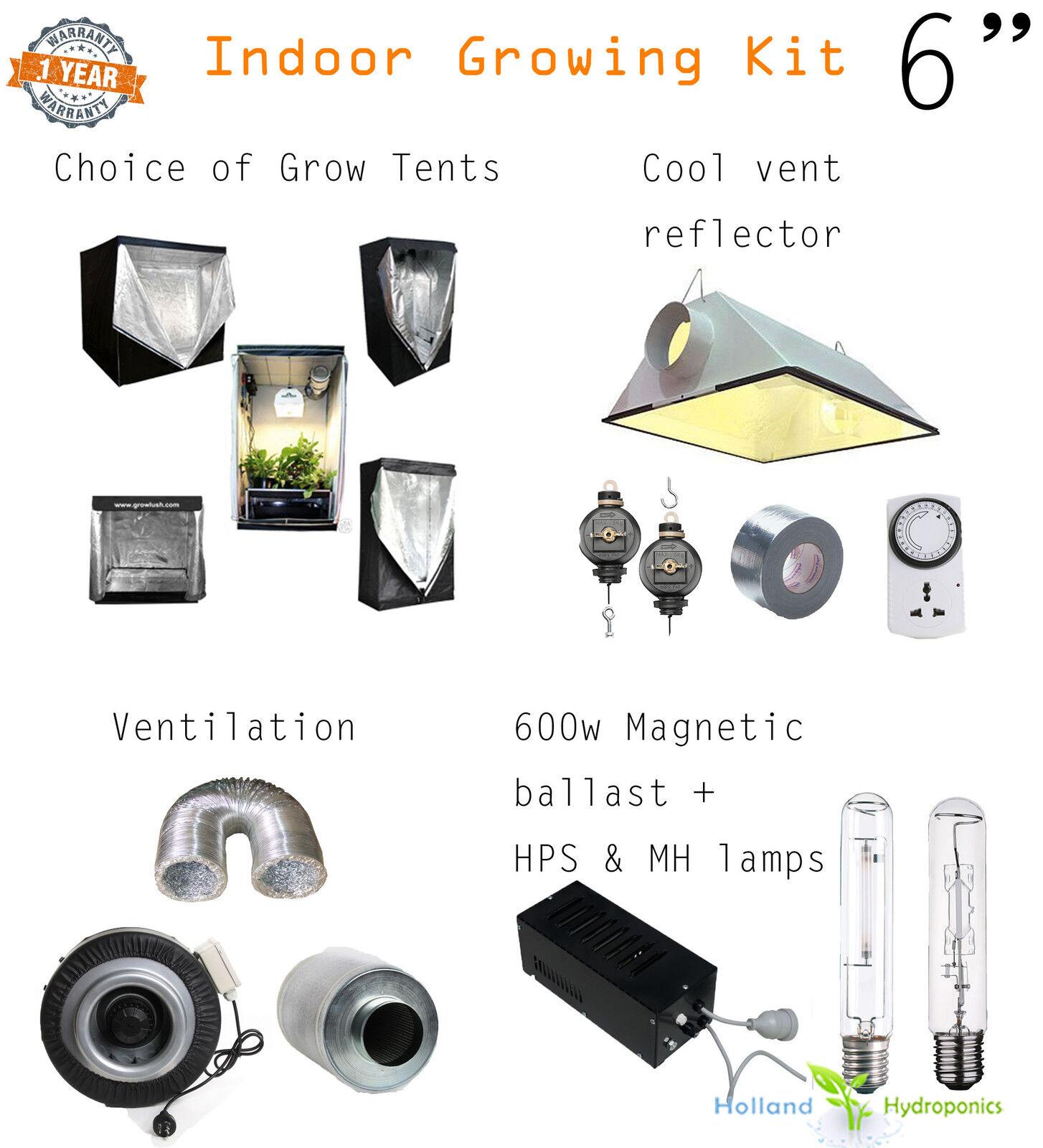 "hydroponics grow light setup 6"" 600 hps mh tent carbon filter fan"
