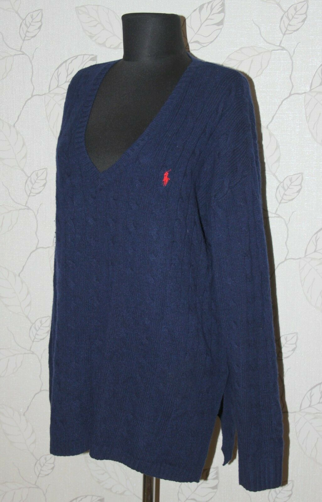 Polo Ralph Lauren womens cable knit navy jumper sweater Size L wool cashmere