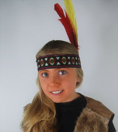 Children/'s Fancy Dress Thick Indian Woven Headband with Two Feathers Girl