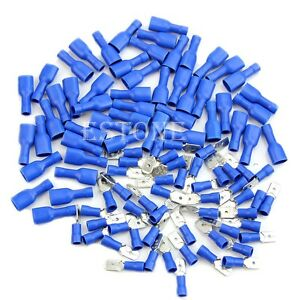New-100x-Blue-Insulated-Spade-Electrical-Crimp-Wire-Cable-Connector-Terminal-Kit