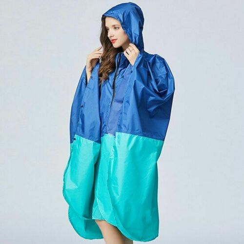 Women Raincoat Cape Hood Zipper Waterproof Rain Poncho Coat Hiking Bicycling