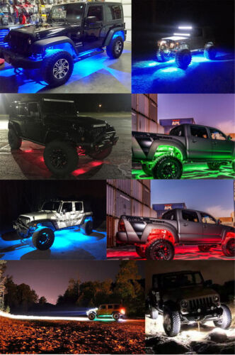 Waterproof RGB CREE LED Rock Light Kits Bluetooth Control with 4 pods Lights