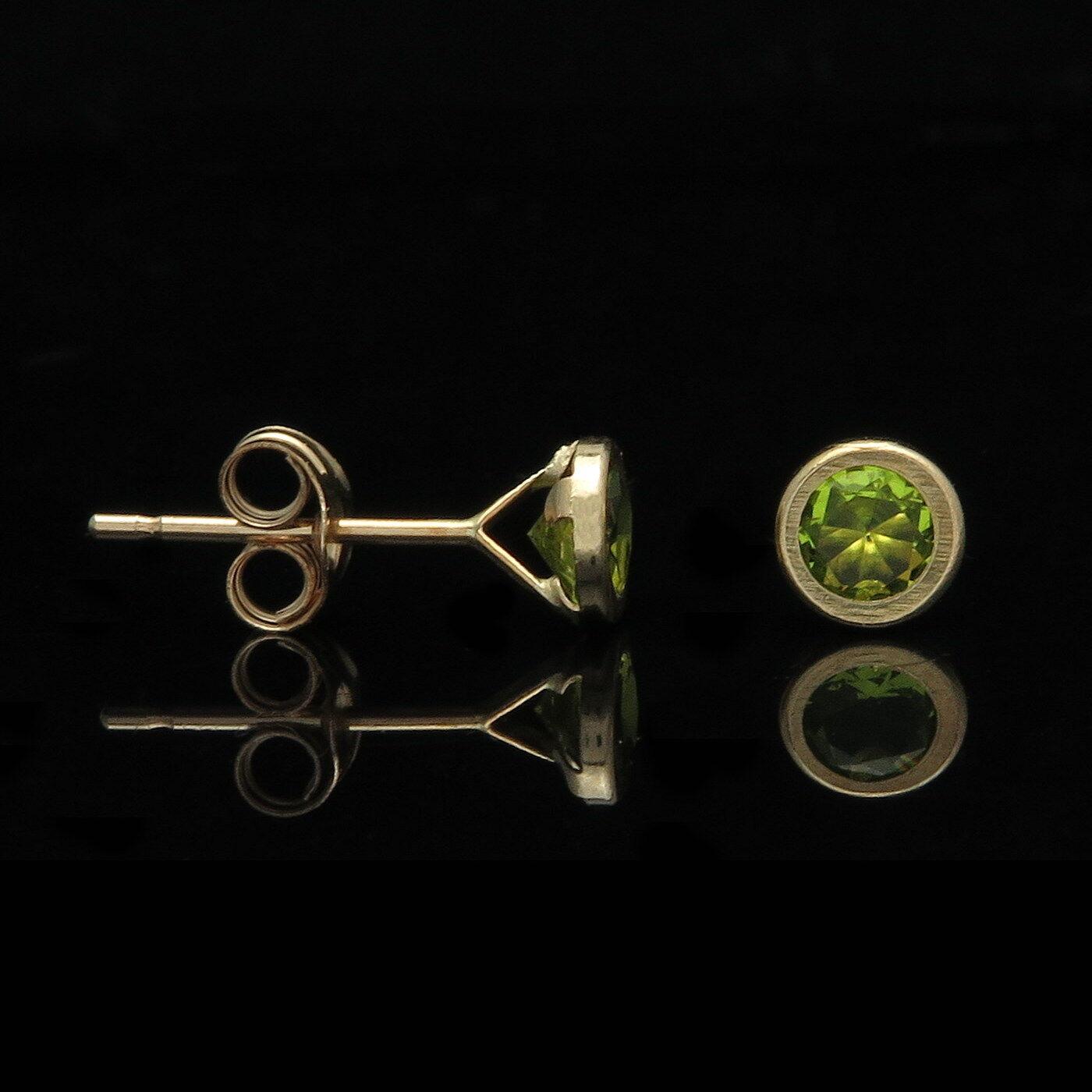 1.00 Ct Brilliant Green Peridot Bezel Earrings 14k Solid Yellow gold Round Studs
