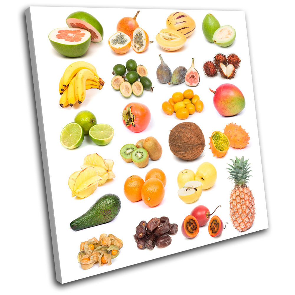 Fruits Collage Food Kitchen SINGLE TOILE murale ART Photo Print