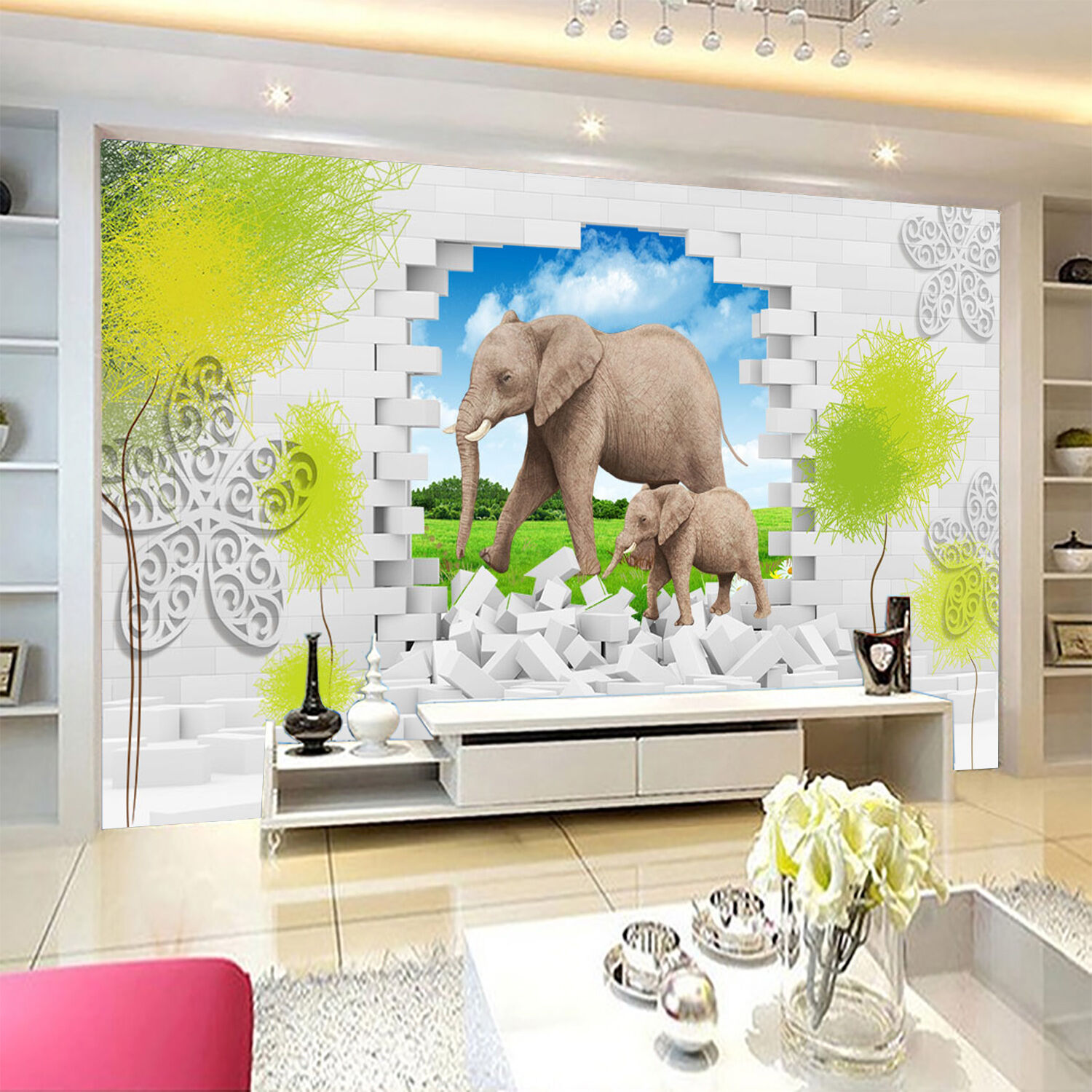 3D Prairie elephant 17 Wall Paper Print Decal Wall Deco Indoor wall Mural