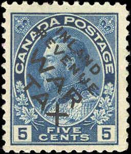 1915-Mint-H-Canada-F-Scott-MR2Bi-5c-OVERPRINTED-War-Tax-Stamp