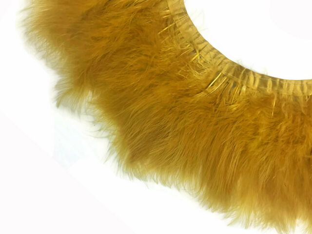 1 Yard Cream Beige Marabou Turkey Fluff Feather Fringe Trim Fashion Party Dress