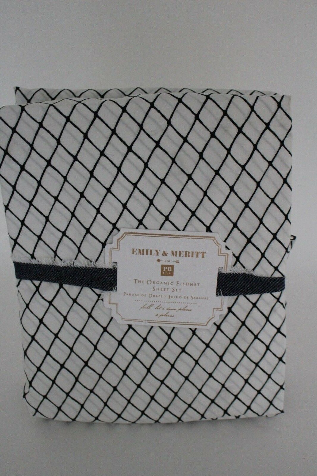 Neuf avec étiquettes POTTERY BARN PB Teen Emily & Meritt Organic résille Feuille Set, pleine, noir