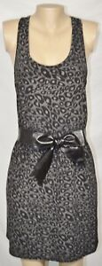 EIGHT-SIXTY-Black-Gray-Animal-Print-Racerback-Dress-Large-Faux-Leather-Waist-Bow
