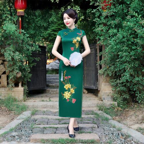 Chinois longue femmes robe de soirée balle Cheongsam Qipao traditionnelle Taille Plus