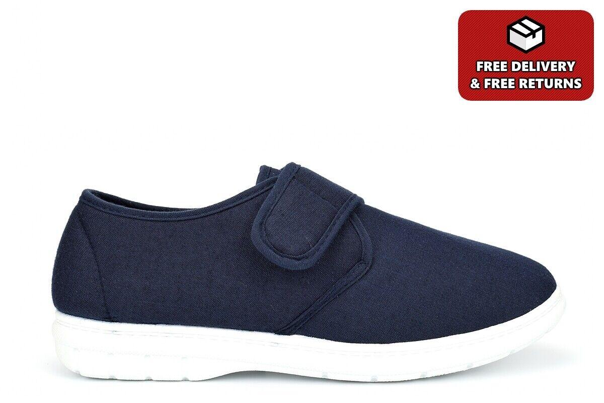 Scimitar Mens Touch Fastening Canvas Shoes Denim Textile Shoes Navy Blue Size