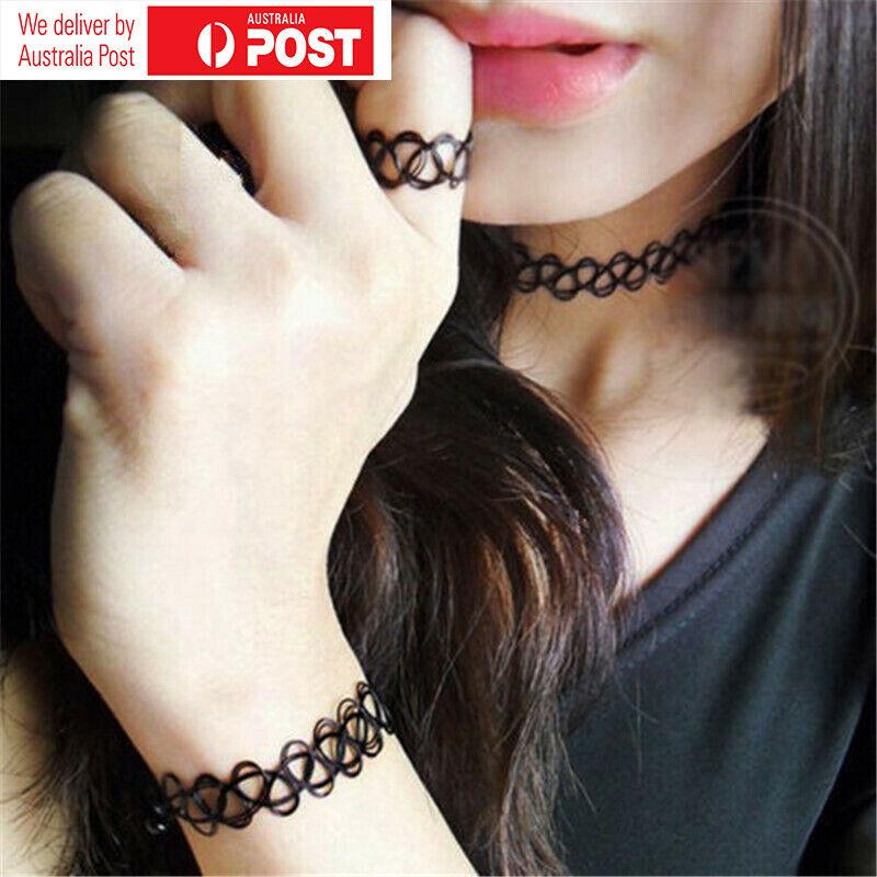 2pcs Black Retro Elastic Boho 90s Gothic Hot Tattoo Choker Stretch Necklace