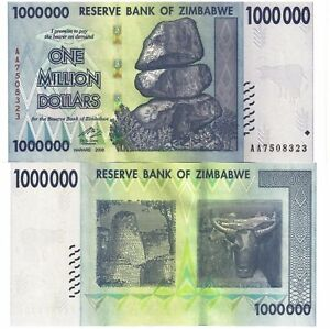 Details About 1 Million Zimbabwe Dollar Money Currency Circulated Au 10 20 50 100 Trillion