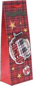 Set-Of-6-Wine-Bags-3D-Red-Tartan-Christmas-Gift-Wine-Bag-Ribbon-amp-Glitter
