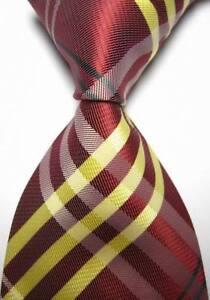 Nuevo-Amarillo-Rojo-Raya-Tartan-Escoces-Estilo-Corbata-Seda-Para-Hombre-Golf-de-vendedor-de-Reino
