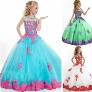 New 3 Colors Flower Girls Dress Beads Tulle Girls Formal Pageant Party Ball Gown
