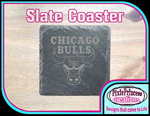 NBA Chicago Bulls Slate Coasters A Laser Engraved Drink Set BUY 3 GET 1 FREE