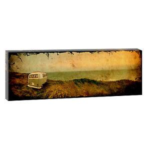 vw bulli retro bild strand meer leinwand poster wandbild. Black Bedroom Furniture Sets. Home Design Ideas