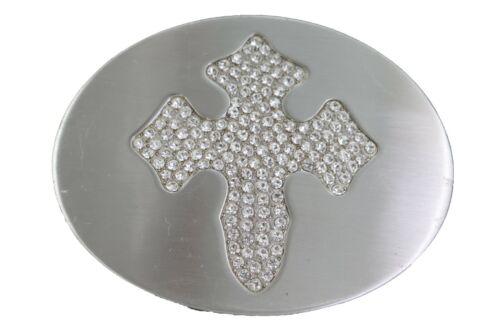 New Men Women Silver Metal Buckle Western Cowboys Fashion Bling Iron Cross Rodeo