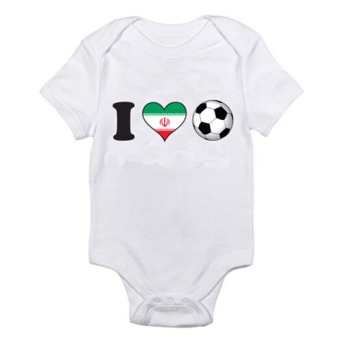 Sport Flag Novelty Themed Baby Grow I LOVE FOOTBALL Iran Iranian