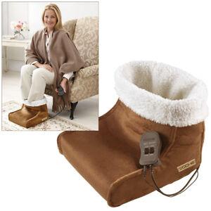 VOCHE® ELECTRIC HEATED FLEECE FOOT WARMER + MASSAGER MASSAGING BIG SLIPPER BROWN