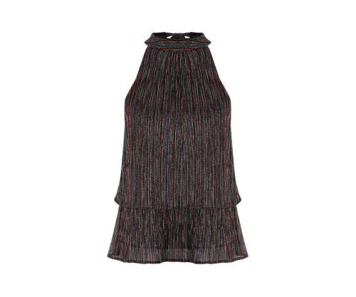 RRP £30 Oasis RAINBOW PLISSE HALTER NECK SPARKLE TOP Size S