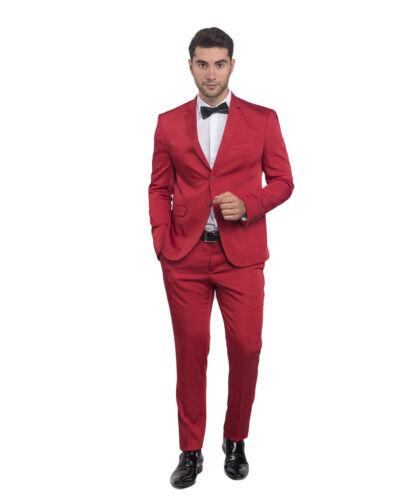 Slim Fit Hommes Costume en satin rouge-Smoking-Costume-Mariage scène-Veste de sport