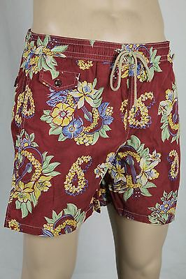 Ralph Lauren Orange Pink Yellow Floral Swim Shorts Trunks Green Pony Bag NWT L