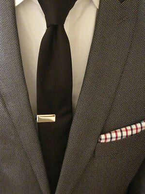 Mens 2CM x 1CM Silver Tie Bar Skinny Clip 'Actual Stainless Steel' Wedding Pin