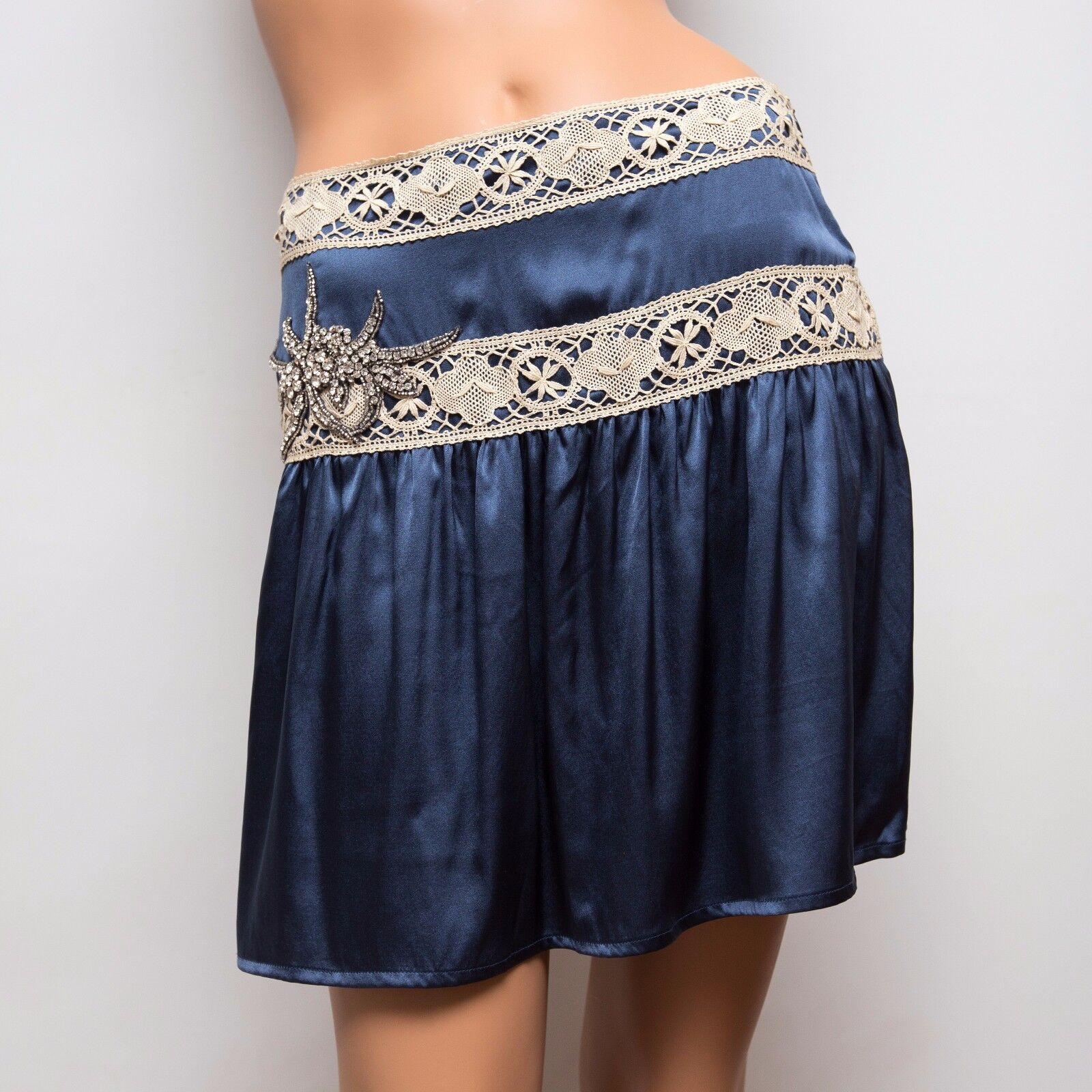 NWT Ingwa Melero 40 CS Blau Charmeuse Silk Skirt with Lace Embellishments  342