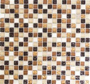 Mosaik Fliese Glasmosaik Natursteinmosaik Mix Beige//braun Wand Bad    92 1206/_b