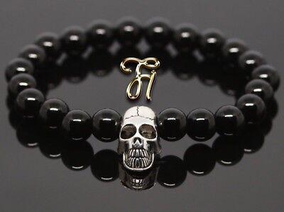 Achat rot bunt 8mm Armband Perlenarmband silberfarbener Totenkopf Skull