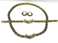 Womens Gold I Love You Hugs & Kisses Necklace,Bracelet & Hoop Earring Set XOXO