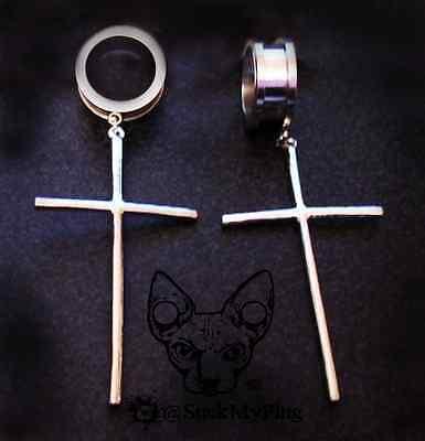 Steel Screw Dangle Ear Plug Cross Goth Earrings Spikes Gauge Pendant Tunnel