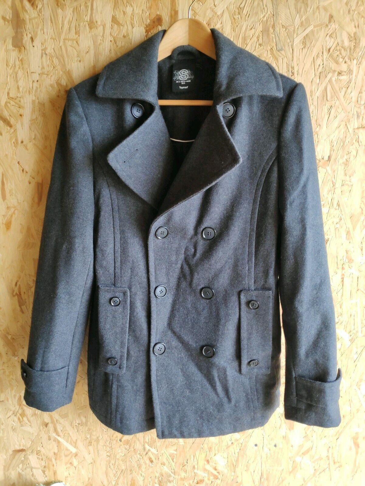 Topman Mens Wool Duffle Coat - S - Grey