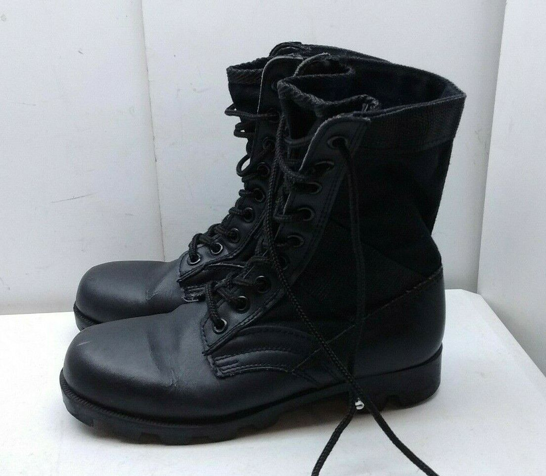 redhco 5R Steel-Toe Jungle Black Leather Sport Lace Up Boot Combat Women shoes 7M