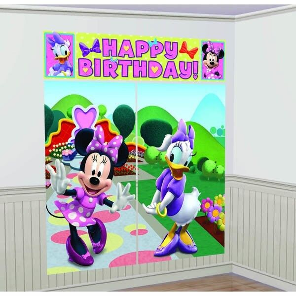 Disney's MINNIE MOUSE Scene Setters Wall Banner Decorating Kit Birthday Party