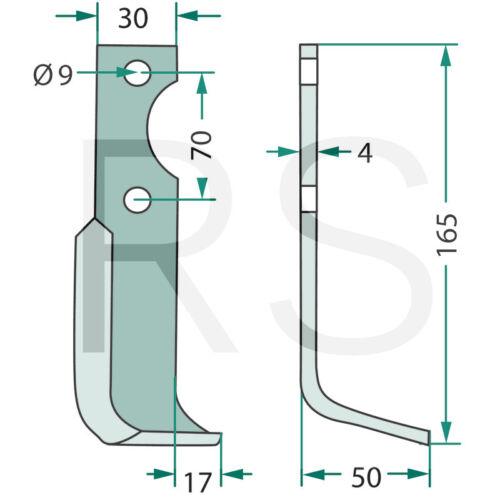 180AGR-11L Fräsmesser für Agria Fräse links NH 16548 Winkelmesser