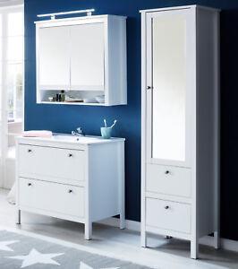 Details zu Bad Möbelset in weiß Badezimmer Möbel Set komplett mit  Waschbecken Landhaus Ole