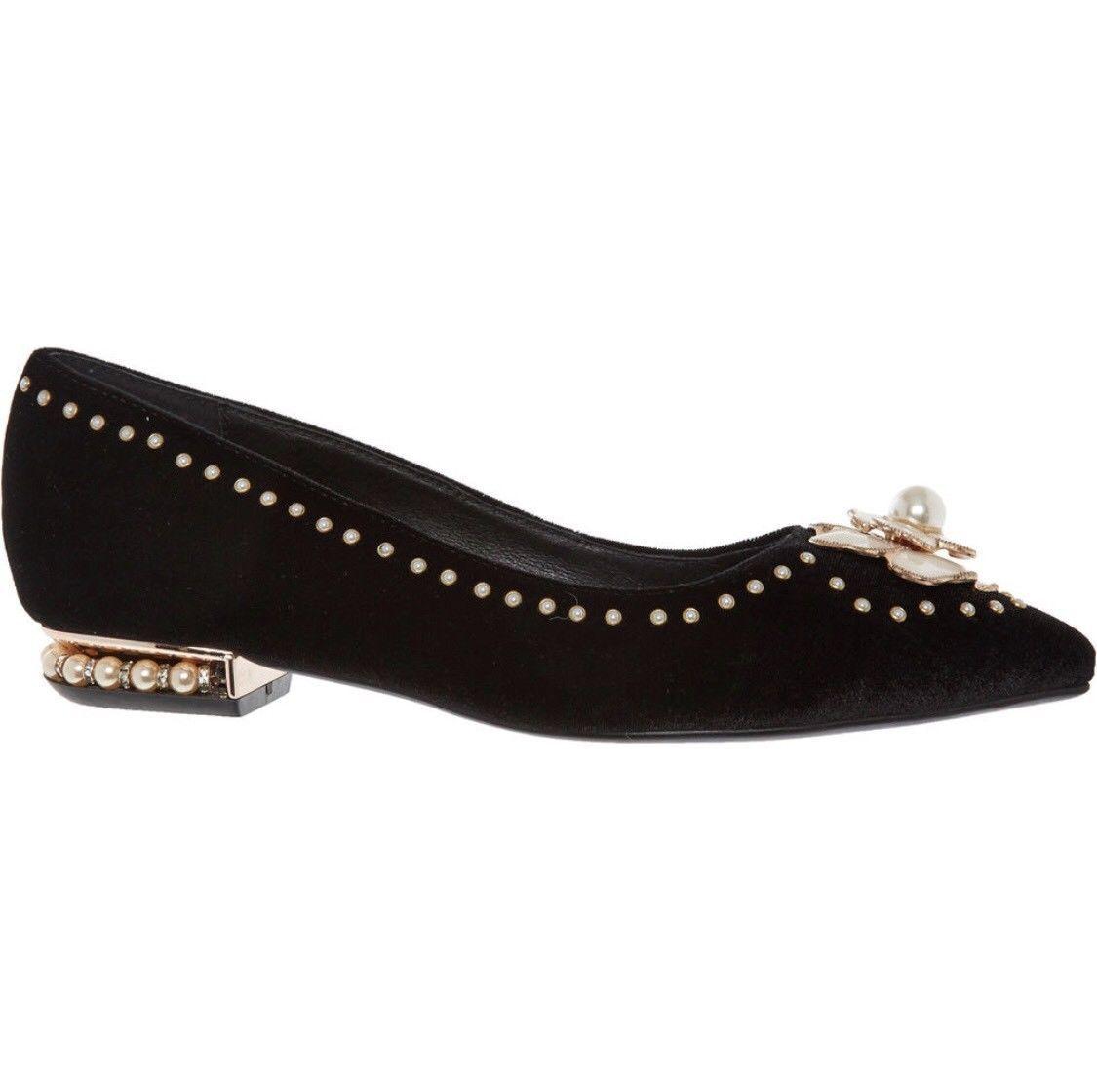 Jeffrey Campbell Black Velvet Flat shoes Size 5 EU 38   Brand New